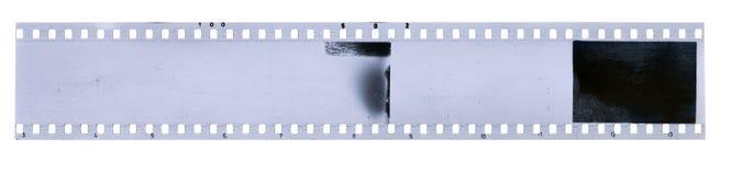 Strook van oude celluloidfilm met stof en krassen royalty-vrije stock foto