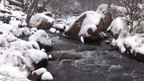 Stroom in de winter stock videobeelden