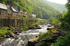 Stroom in Lynmouth, Engeland Royalty-vrije Stock Foto's