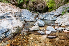 Stroom tussen rotsen in Montseny nationaal park, Spanje Stock Foto