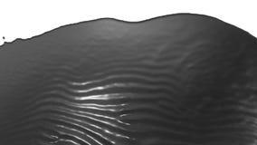 Stroom van grijze vloeistof zoals sap die op witte achtergrond vallen - het scherm en onderaan over wit druipen 3d geef met alpha stock illustratie