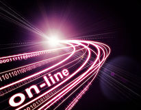 Stroom van online lichtstralen, cijfers en woord Stock Fotografie