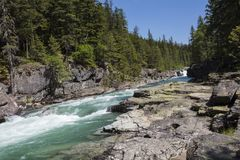 Stroomversnelling in Gletsjer Nationaal Park stock afbeeldingen