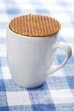 Stroopwafel sulla tazza Immagine Stock