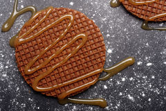 Stroopwafels with caramel sauce Stock Image
