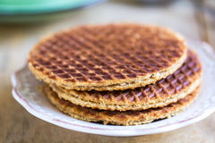 Stroopwafels by coffee Royalty Free Stock Images