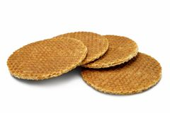 Stroopwafels a isolé sur le blanc Photo stock