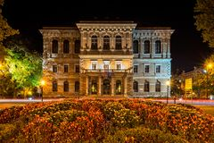 Strossmayer Gallery of Old Masters. In park Zrinjevac in  central Zagreb. Palace and gallery are opened in 19th century. Photo is taken at night in fall of 2017 Royalty Free Stock Photo