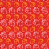 Strowberry淡色无缝的样式在红色背景中 免版税库存图片
