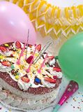 Strowberry birthday cake. Party scene royalty free stock images