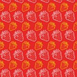 Strowberry Pastel Color Seamless Pattern in red background. Full Vector Royalty Free Stock Images