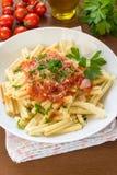 Strozzapreti with tomato sauce Stock Photo