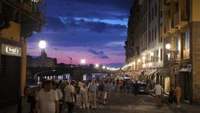 Strrets of FLorence close to famous bridge Ponte Vecchio tourists walking 30.07.2019 stock footage