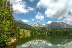 Strsbke Pleso sjö, i Tatra berg, i Slovakien, i sommar arkivfoto