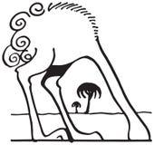 Struś z głową w piasku royalty ilustracja