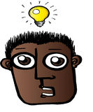 Struck by Bright Idea. Illustration of a guy struck by a brilliant idea Royalty Free Stock Photo