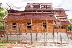 Struction of new monk's house. In countryside of thailand made of wooden and mortar Stock Photography