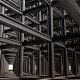 Structural Abstract. Of intersecting steel beams in a 3D matrix Royalty Free Stock Photography