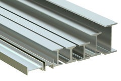 Structural beams, steel rolled metal H-beam. 3D rendering Royalty Free Stock Photography