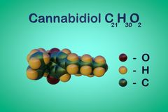 Structural chemical formula and molecular model of cannabidiol CBD, an active ingredient in cannabis derived from the. Structural chemical formula and molecular stock illustration