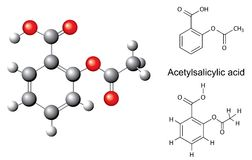 Structural chemical formulas and model of acetylsalicylic acid Royalty Free Stock Photos