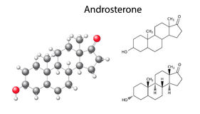 Structural chemical formulas and model of androsterone molecule. 2D and 3D Illustration, vector, isolated on white background, eps8 Stock Photo
