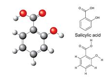 Structural chemical formulas and model of salicylic acid. Ball and stick, 3d illustration, vector, isolated on white background Royalty Free Stock Photo