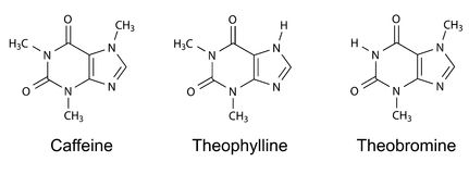 Structural chemical formulas of purine alkaloids (caffeine, theophylline, theobromine) Stock Photo