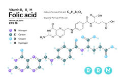 Structural chemical molecular formula and model of Folic acid. Atoms are represented as spheres with color coding. On background. 2d, 3d visualization and Stock Photos