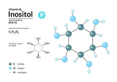 Structural chemical molecular formula and model of Inositol. Atoms are represented as spheres with color coding. Isolated on background. 2d, 3d visualization Stock Photography