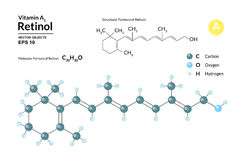 Structural chemical molecular formula and model of retinol. Atoms are represented as spheres with color coding. Isolated on background. 2d or 3d visualization Stock Image