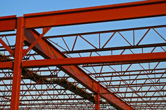 Structural Column. Structural Steel Building Girders under construction Stock Photos