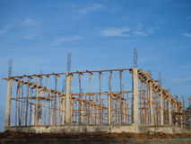 Structural columns and beams, concrete house. Royalty Free Stock Photos