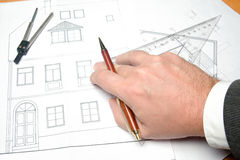 Structural drawing. Hand and structural drawing with accessories Royalty Free Stock Images