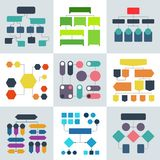 Structural flow diagrams, flowcharts and flowing process structures. Vector infographics elements. Structure process, diagram and flowchart illustration Stock Images