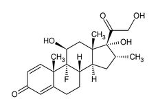 Structural formula of dexamethasone. Isolated on white background Stock Photos