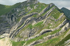 Structural geological exhibition. Folded rock beds in the mountains Stock Photo