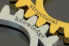 Structural knowledge concept on the gearwheels, 3D rendering Stock Photo