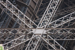 Structural metal fittings of the Eiffel tower Stock Photos