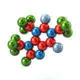 Structural model of colorful caffeine molecule 3d illustration. On white background Royalty Free Stock Photo