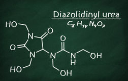 Structural model of Diazolidinyl urea. On the blackboard Stock Photo