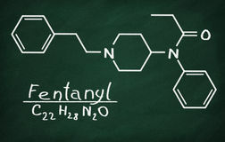 Structural model of Fentanyl. On the blackboard Royalty Free Stock Photography