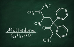 Structural model of Methadone. On the blackboard Royalty Free Stock Photography