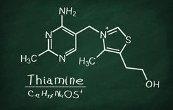 Structural model of Vitamin B1 Thiamine. On the blackboard Stock Photos