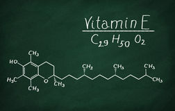 Structural model of Vitamin E. Tocopherol on the blackboard Royalty Free Stock Photography