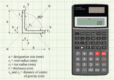 Structural steel angle. And properties and scientific calculator Vector Illustration