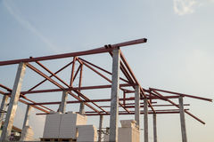 Structural steel beam on roof of building residential constructi Royalty Free Stock Photography