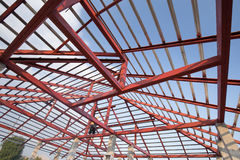 Structural steel beam on roof of building residential constructi Royalty Free Stock Images