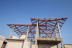 Structural steel beam on roof of building residential constructi Royalty Free Stock Image