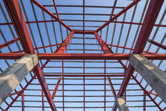 Structural steel beam on roof of building residential constructi Stock Photo
